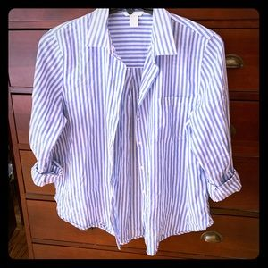 Women's Forever 21 Blue and White Striped Top